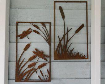 Bull Rush U0026 Reeds Metal Wall Art / Dragonfly Wall Art / Pond Reed Sculpture  /