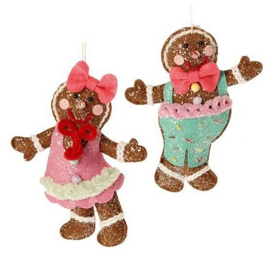 RAZ Gingerbread Boy Girl Christmas Ornament Set of 2  2 Assorted styles, set includes one of each style Multicolored Made of Polyester Measures 7  RAZ Christmas Moose 2013 Collection