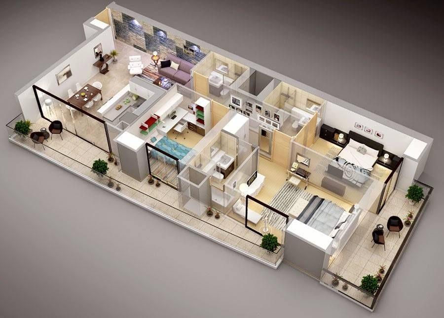 Wohnungsplanung, 3d Haus Pläne, Haus Design, Studio Wohnungen,  Studio Apartment Grundrisse, Schlafzimmer Grundrisse, Schlafzimmerdesign,  Haus Pläne, Jurten