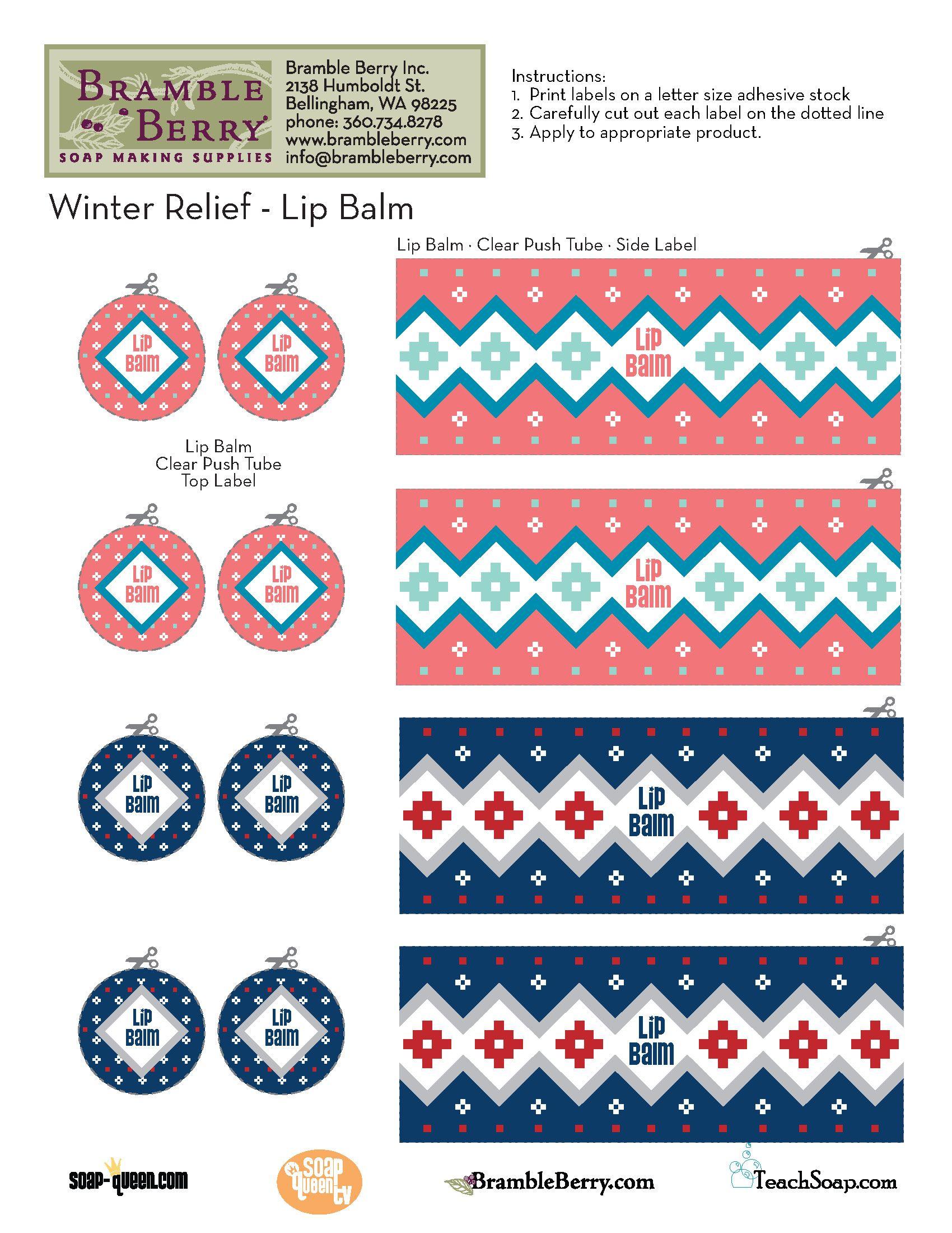 printed lip balm label template winter relief lip balm template free pdf bramble berry. Black Bedroom Furniture Sets. Home Design Ideas