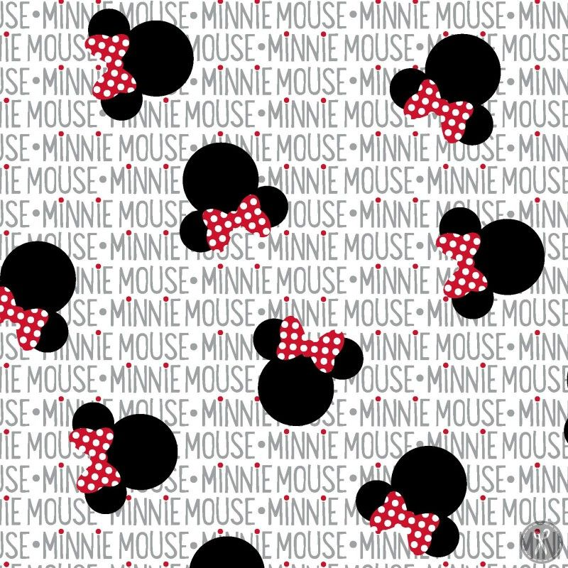 Minnie Mouse Heads And Bows Quilting Fabric