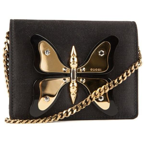 02f5b17bf4 Pre-Owned Gucci Black Satin and Gold Butterfly Mini Purse found on Polyvore  featuring bags