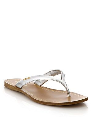 3bd86ce91572ec Prada Metallic Leather Logo Thong Sandals