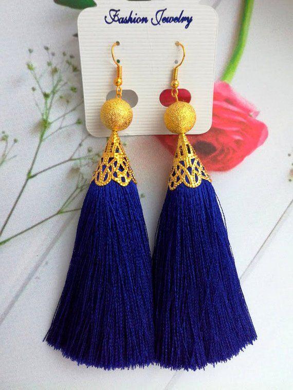 9371c4bf3cdf12 Royal blue silk tassels earring Fringe silk Navy blue tassels Long silk  thread earring Dark blue boh