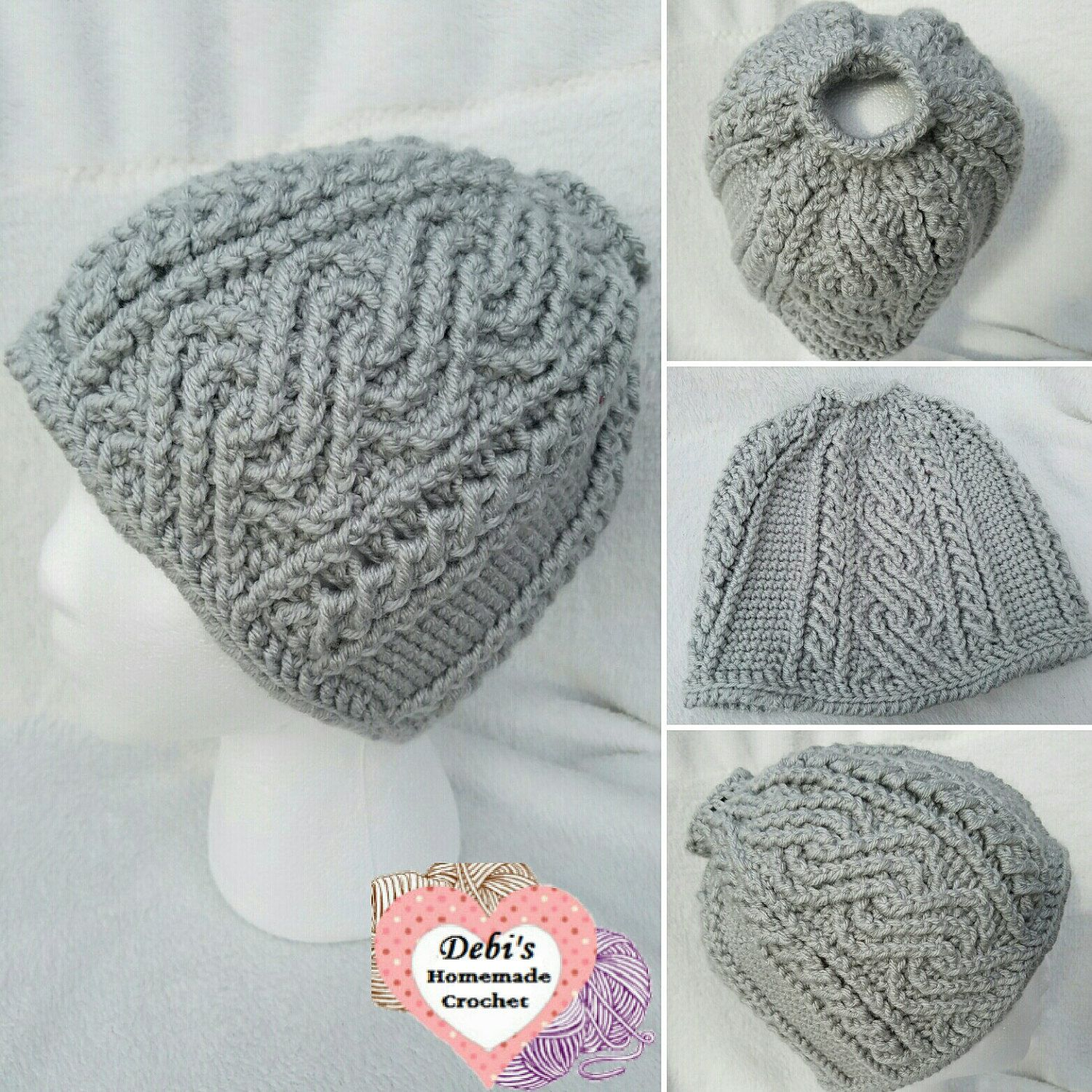 Cool graymist crocheted alpine cable messy bun  ponytail hat  beanie ... 119621b2e85