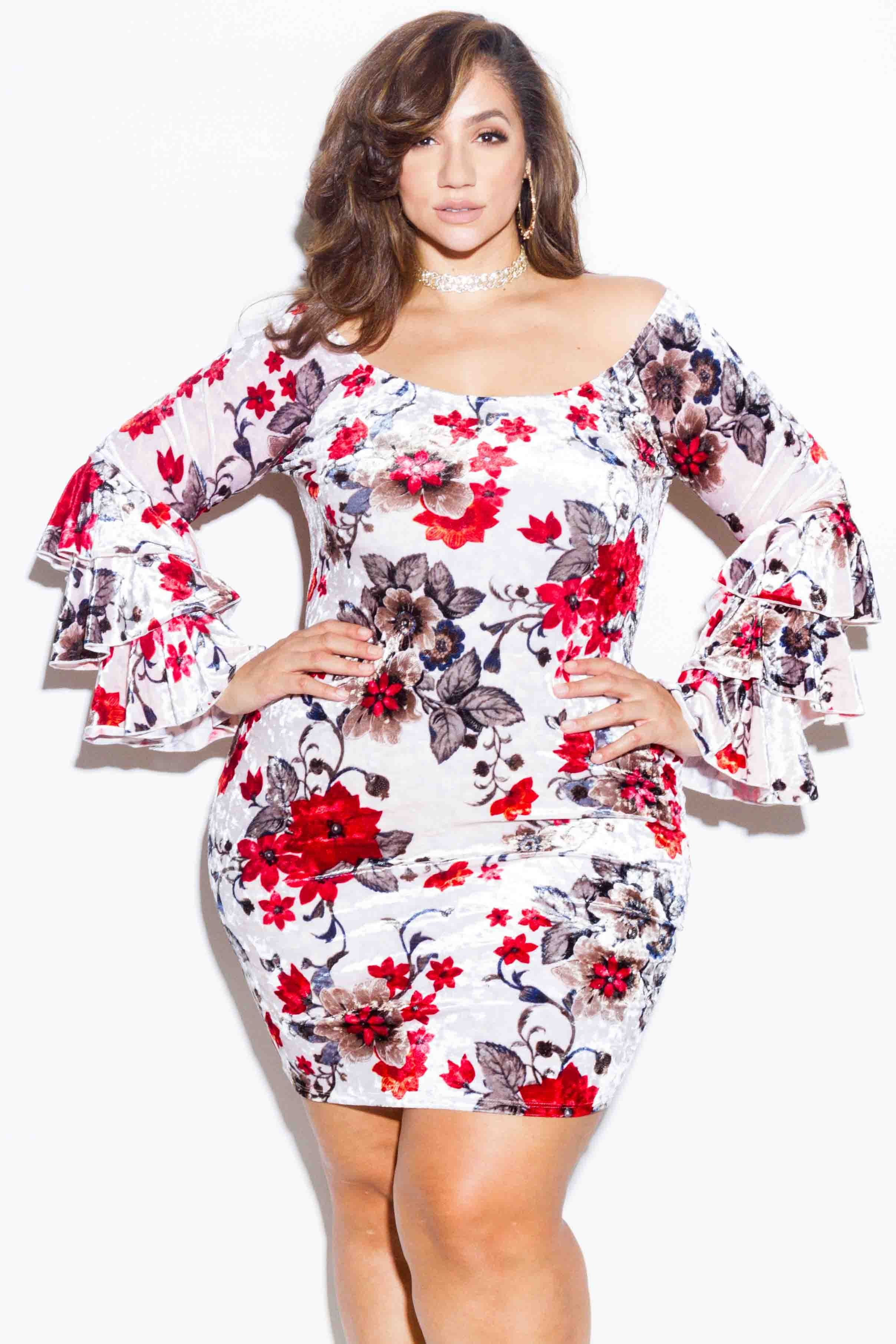 fe9f57ace65c Plus Size Floral Velvet Dress with Ruffle Sleeves