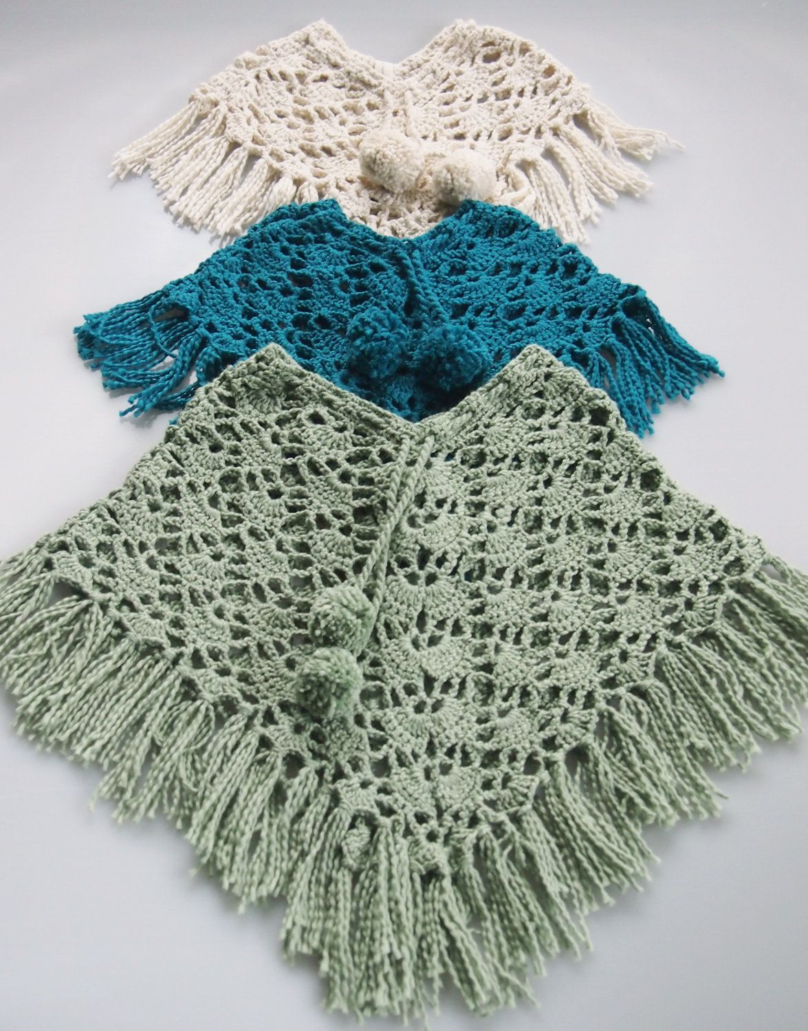 Stunning Hand Crocheted Organic Cotton Baby Poncho With Pom Poms
