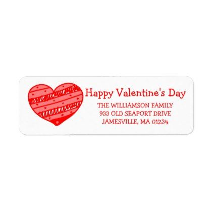 Red And White Heart Return Address Labels  Return Address