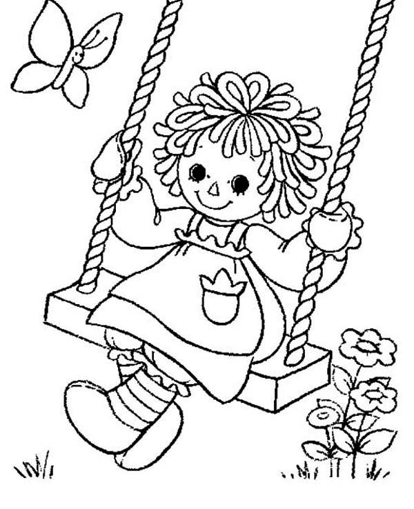 Raggedy Ann Playing Swing in Raggedy Ann and Andy Coloring Page ...