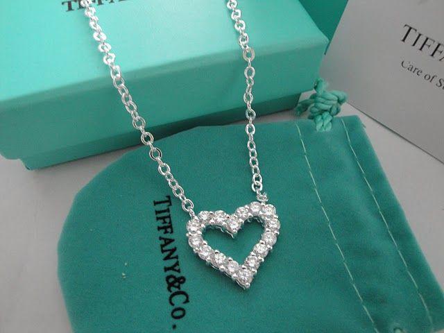 Tiffany open heart necklace with diamond jewlry pinterest tiffany open heart necklace with diamond aloadofball Choice Image