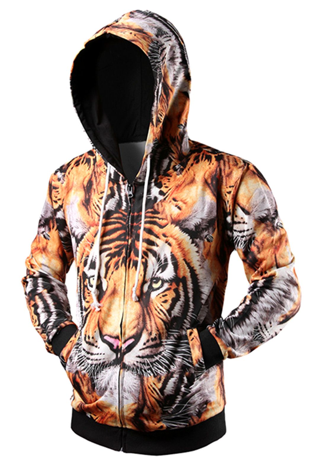 69806cb97bbb  23.33 Zipper Fly Tiger 3D Printed Cool Hoodie