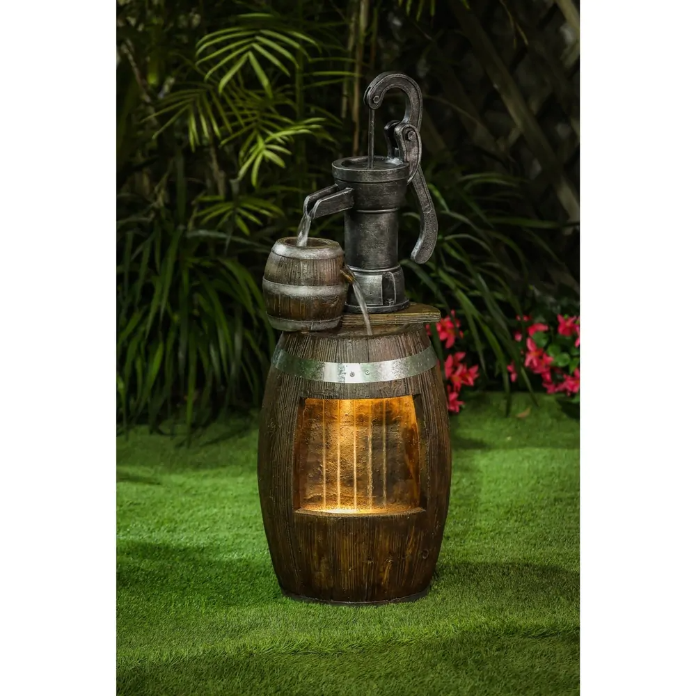Shop Cement/Resin Whiskey Barrels and Water Pump Outdoor
