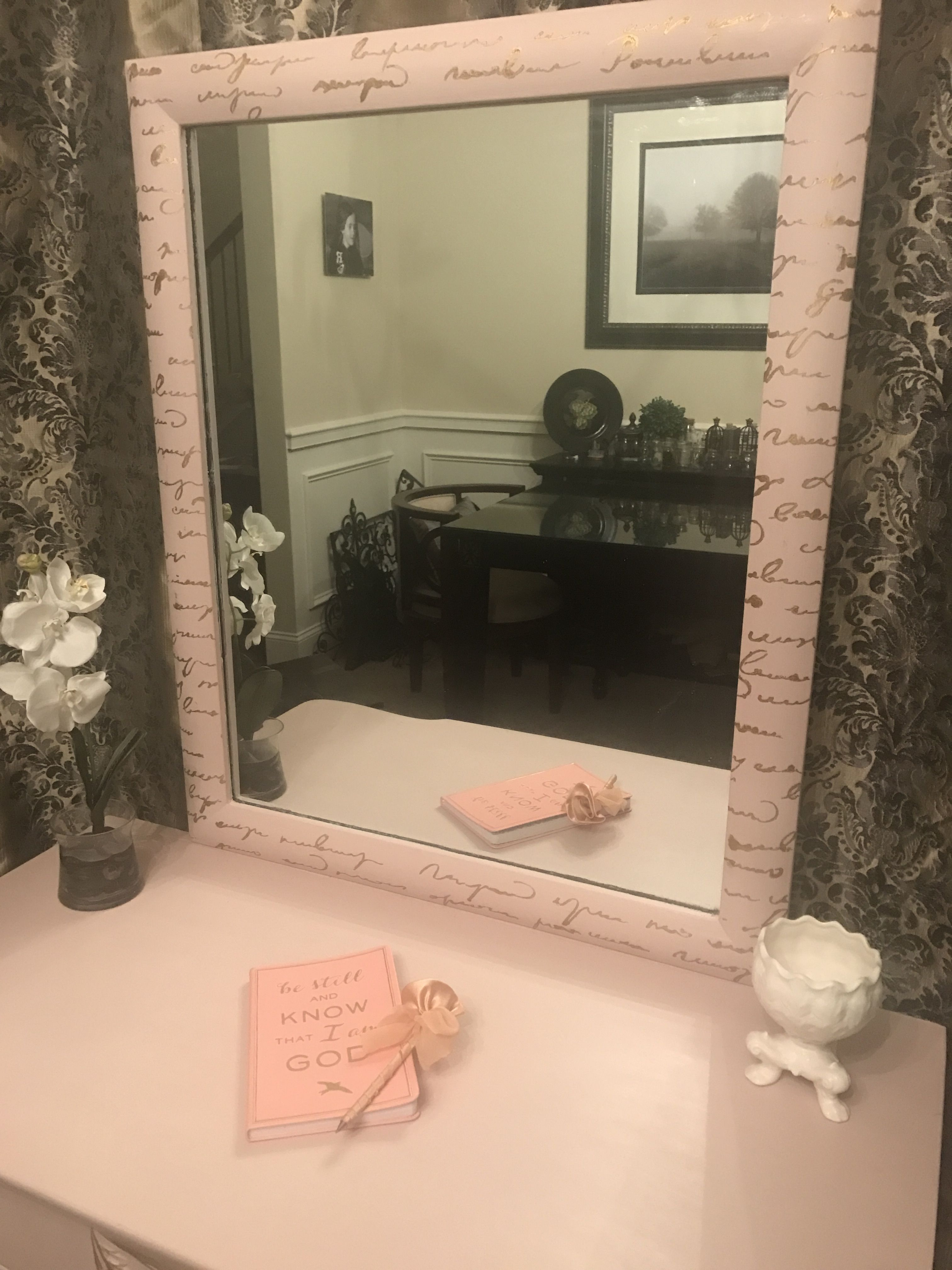 Desk and mirror painted in Annie Sloan Antoinette. French script stencil on the mirror frame done in gold Rub 'n Buff.