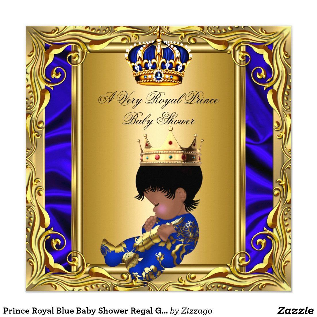 Prince Royal Blue Baby Shower Regal Gold Boy Card