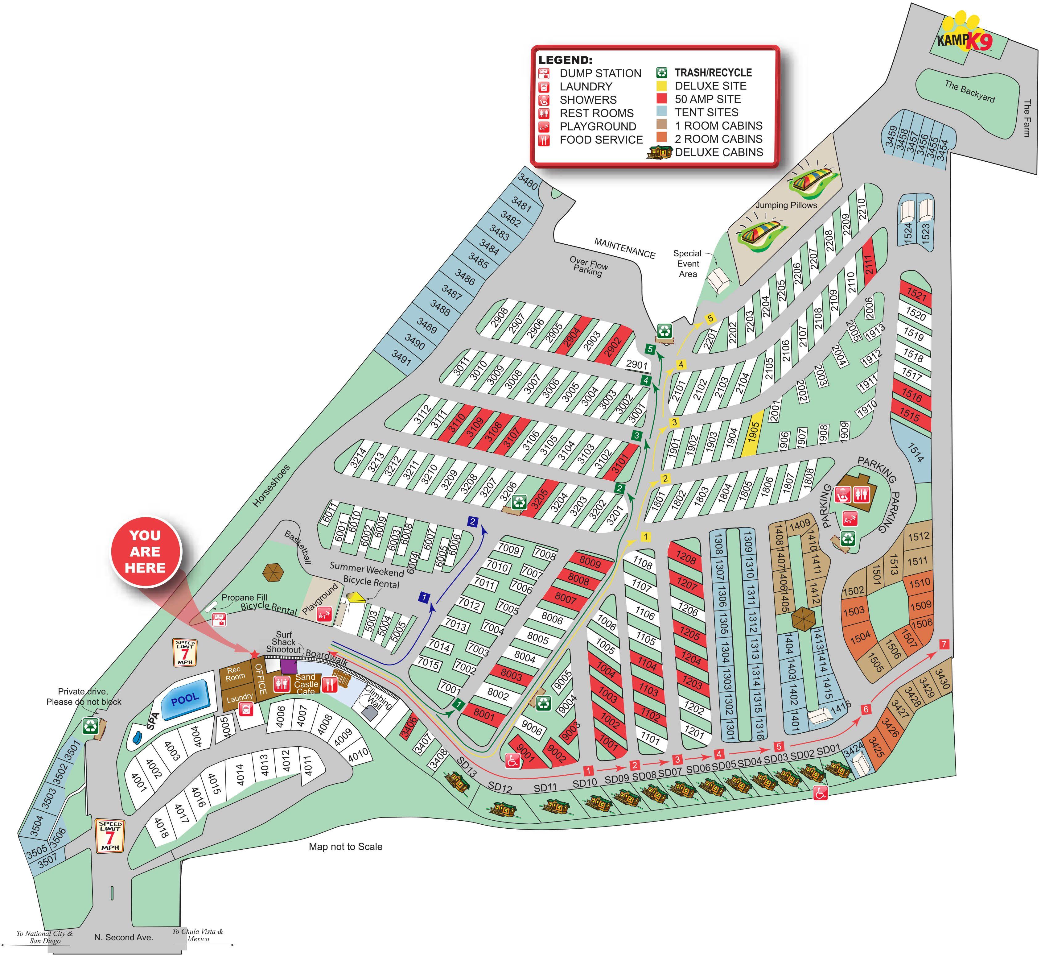 Chula Vista KOA Campground Site Map summertime Pinterest