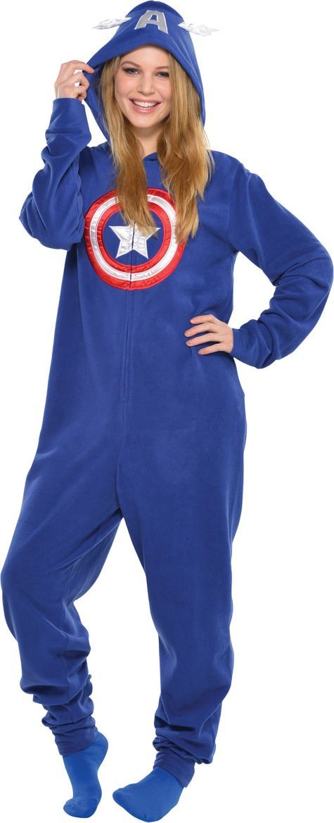 69f8ff60b0 Adult Captain America One Piece Pajama - Party City  cheryl ng A ...