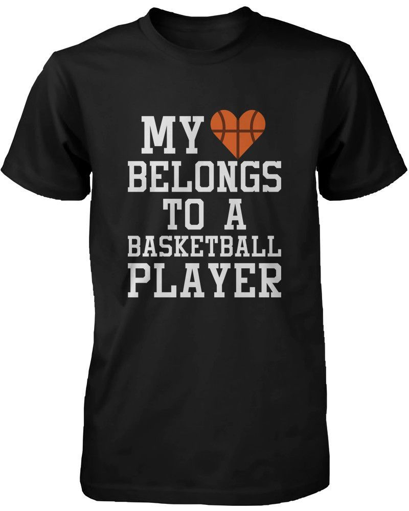 Women's Funny Statement Black T-Shirt My Heart Belong to A Basketball Player