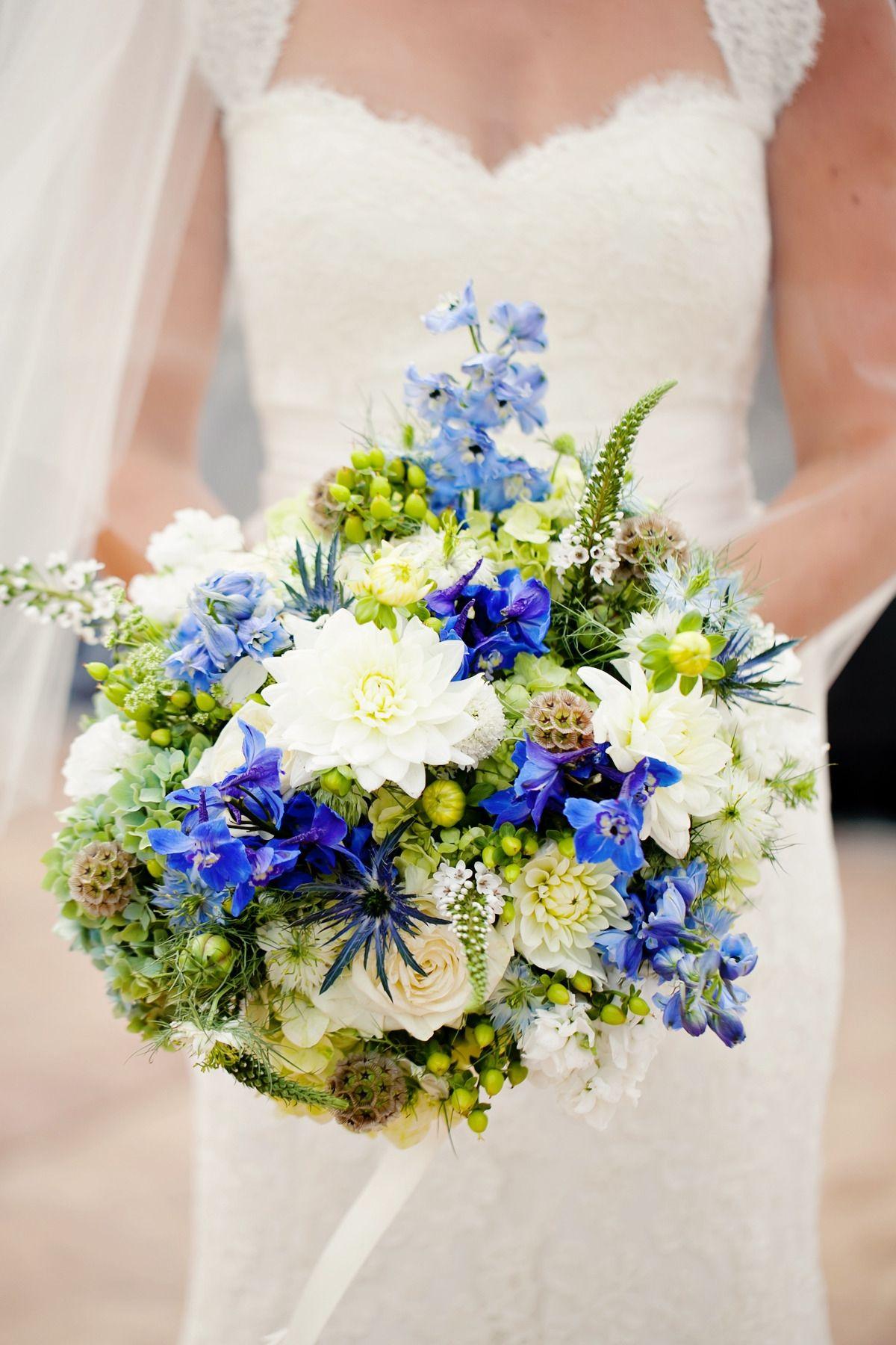 blue and white flowers Virginia Garden Wedding Wedding