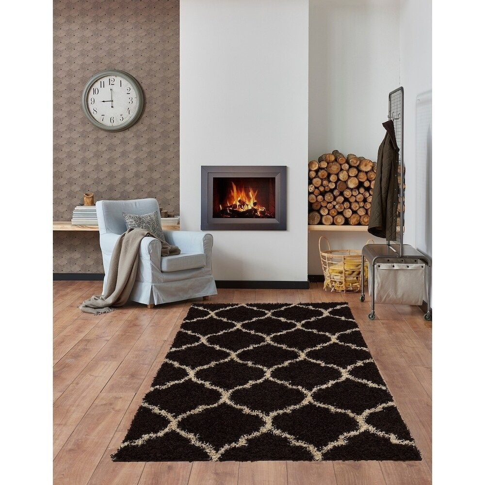 L Baiet Anabelle Trellis Shag Rug 2 X 6 Brown In 2020 With