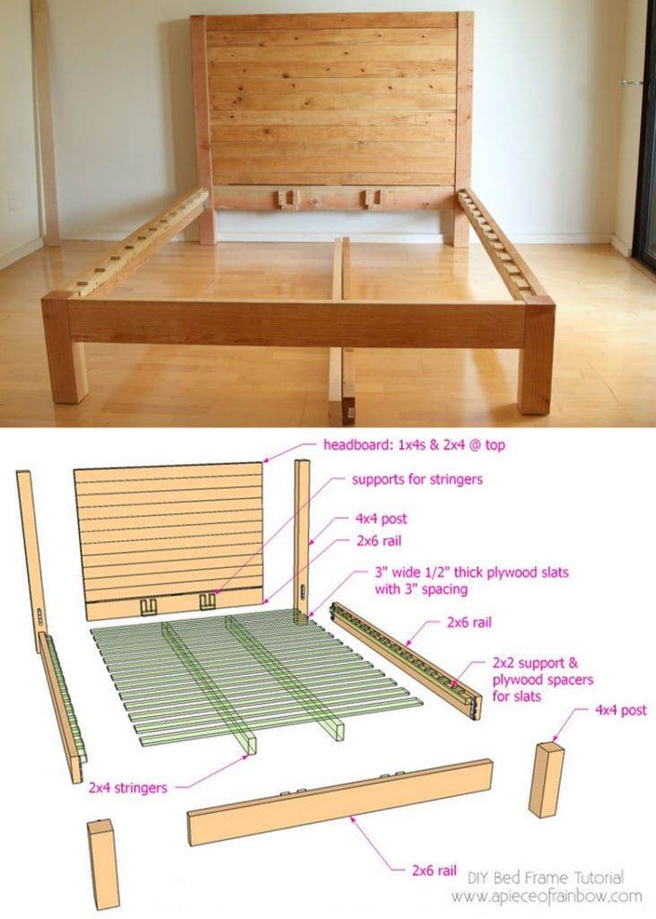 Diy Bed Frame Amp Wood Headboard 1500 Look For 100 In