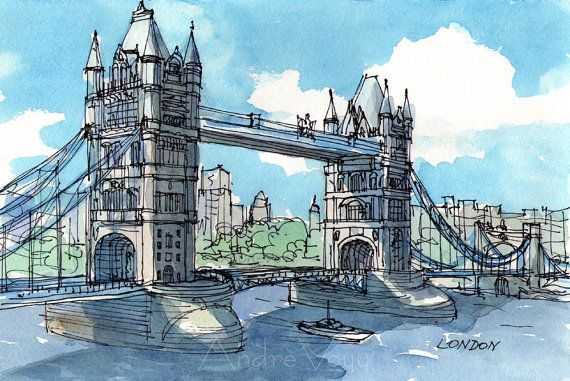London Tower Bridge 2nd Art Print From An Original Watercolor