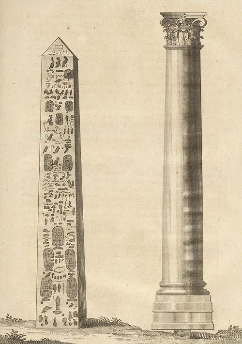 """Aiguille of Cleopatra, Column of Pompeii, from a book called Description de l'Egypte by Benoît de Maillet (1656-1738), courtesy of the Getty Museum. Fun fact: An """"aiguille"""" is a sharp-pointed pinnacle of rock."""