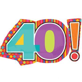 Imagenes De Cumpleanos Numero 40.Un Gran Globo De Foil Con Forma Del Numero 40 Ideal Para