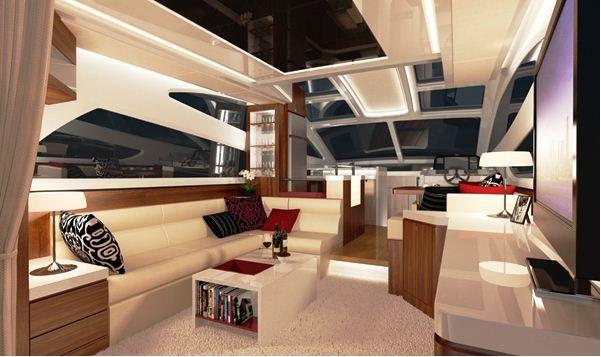 modern yacht interiors   ... Yacht interior - New Horizon E54 motor ...