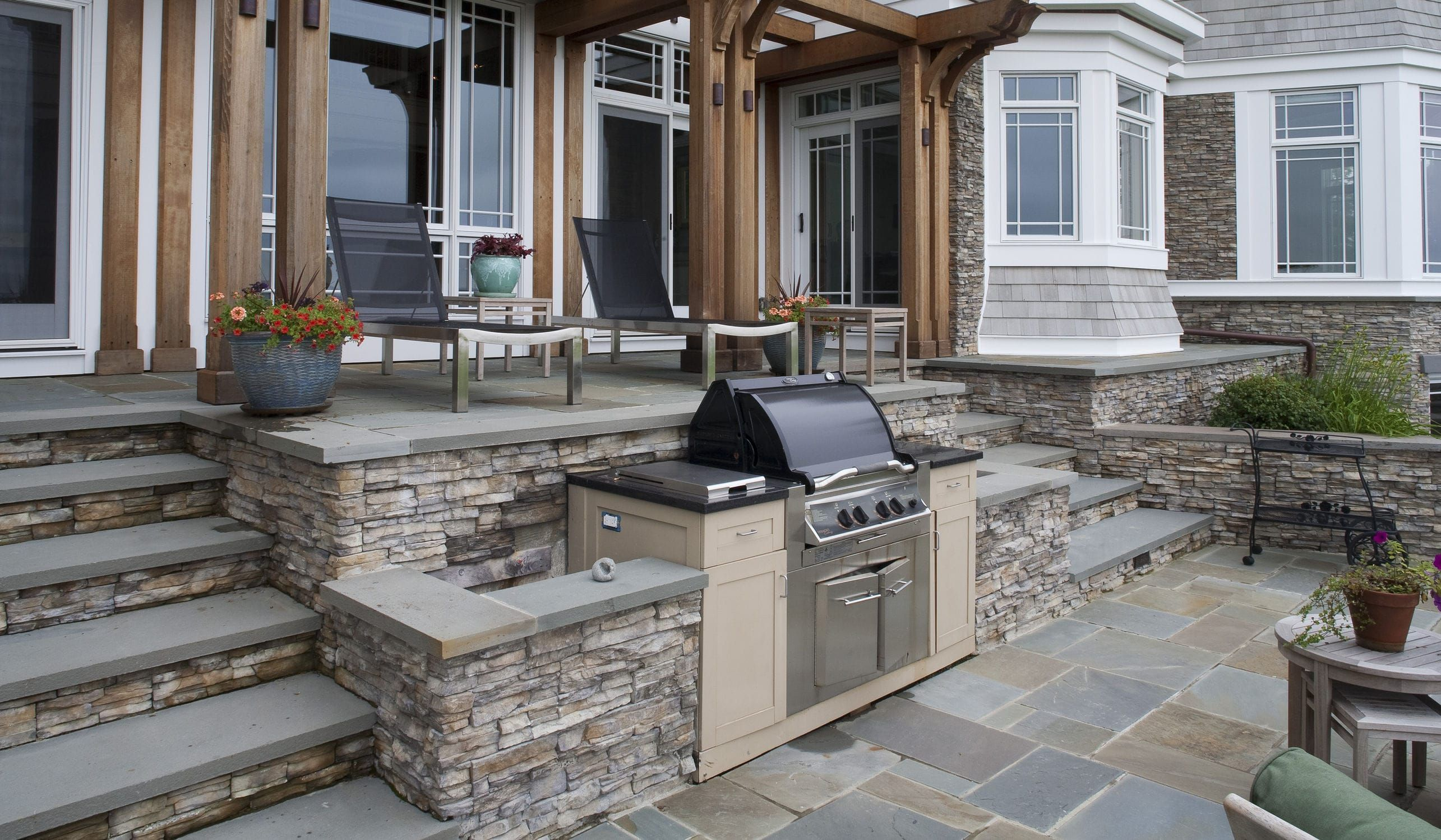 Stone Wall Cladding Exterior Stacked Stone Nantucket Eldorado Stone Outdoor Kitchen Design Build Outdoor Kitchen Outdoor Kitchen