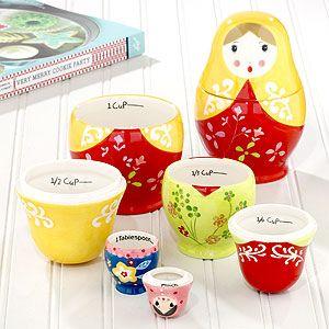M-Cups Measuring Matyroshkas Food Safe 6 Cup Set White