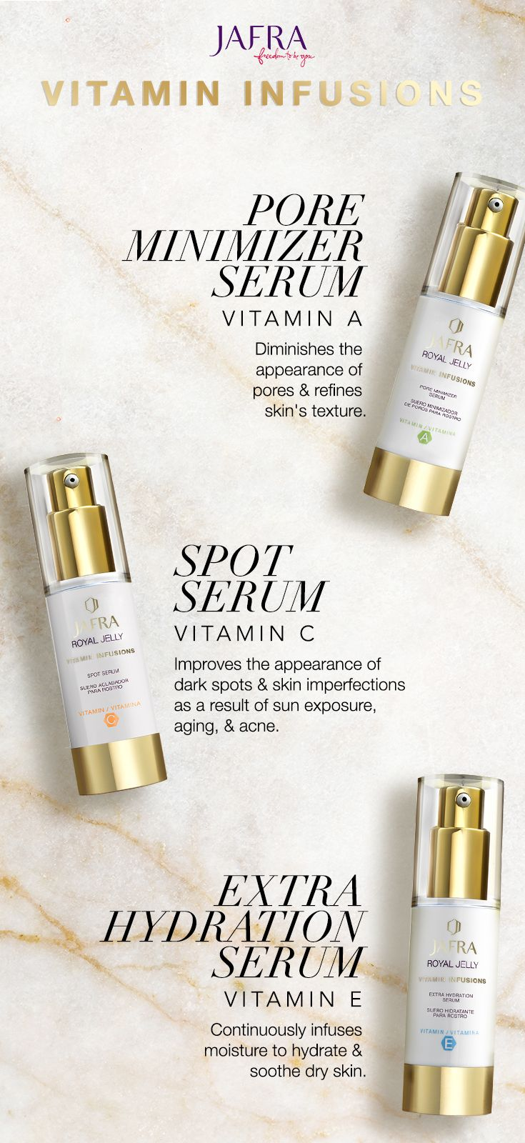 Having Skin Issues Were Here To Help Our Royal Jelly Serums Are Jafra Infused With Vitamins Meet Your Skincare Needs Minimize Pores Spots And Add Extra Hydration These 3 Must Have