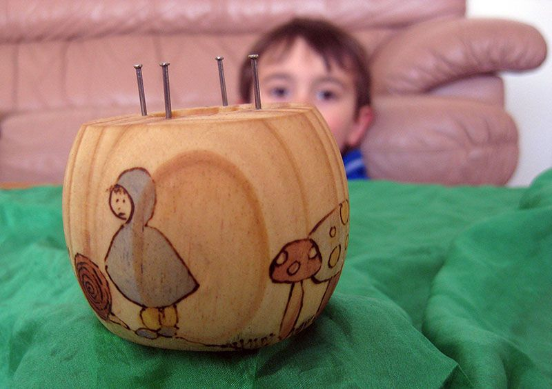 Happy Whimsical Hearts: Spool knitter... oh this inspired me to do this to my kid's wood bowls!!!! Actuallyhave them draw and I burn