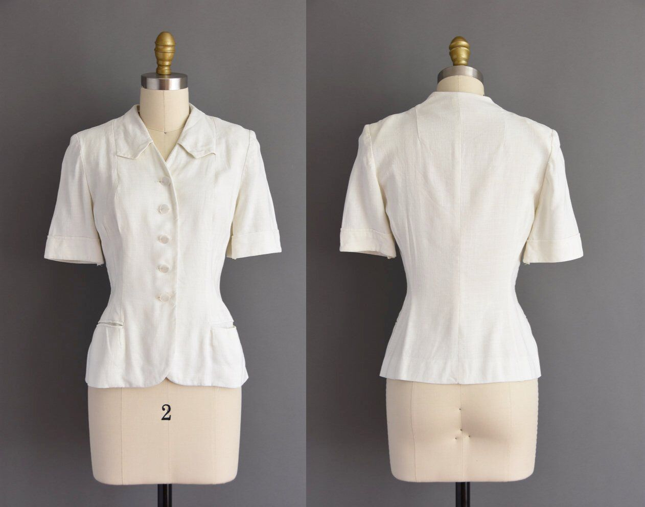 b64041f427ebbe vintage 1940s thick white cotton button up blouse with pockets vintage 40s  Betty Rose Small Medium