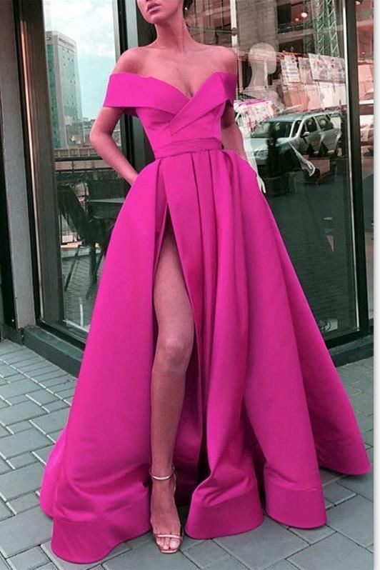 Plus Size Prom Dresses, Hot Sale 2020 A Line Satin Side Slit Off Shoulder Sweetheart Fuchsia Prom Dresses - Long dress, Evening gowns, Formal dresses, Long evening gowns, Sexy party dress, Lace evening dresses - Plus Size Prom Dresses, Hot Sale 2020 A Line Satin Side Slit Off Shoulder Sweetheart Fuchsia Prom Dresses, When it comes to shopping for your 2020 prom dress, you're getting more than just a variety of quality dresses