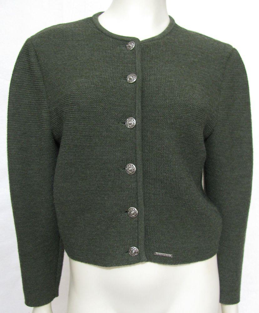 GEIGER 100% Wool Green Knit Cardigan Sweater Womens 4 Jacket Tyrol ...