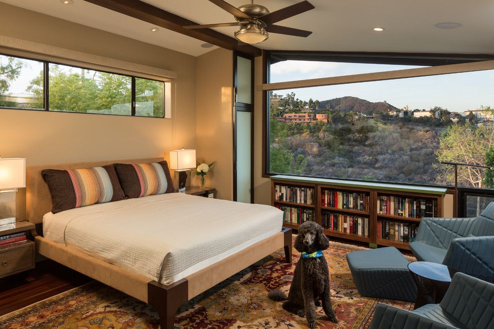 master bedroom additions over garage%0A Magnificent horizontal bookcase in Bedroom Contemporary with Windows Above  Bed next to Motorized Shades alongside Master Bedroom Area Rug and  Bookcases