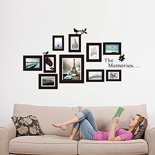The Memories Quotes Wall Decor with 10 Photo Frames Wall Sticker DIY ...