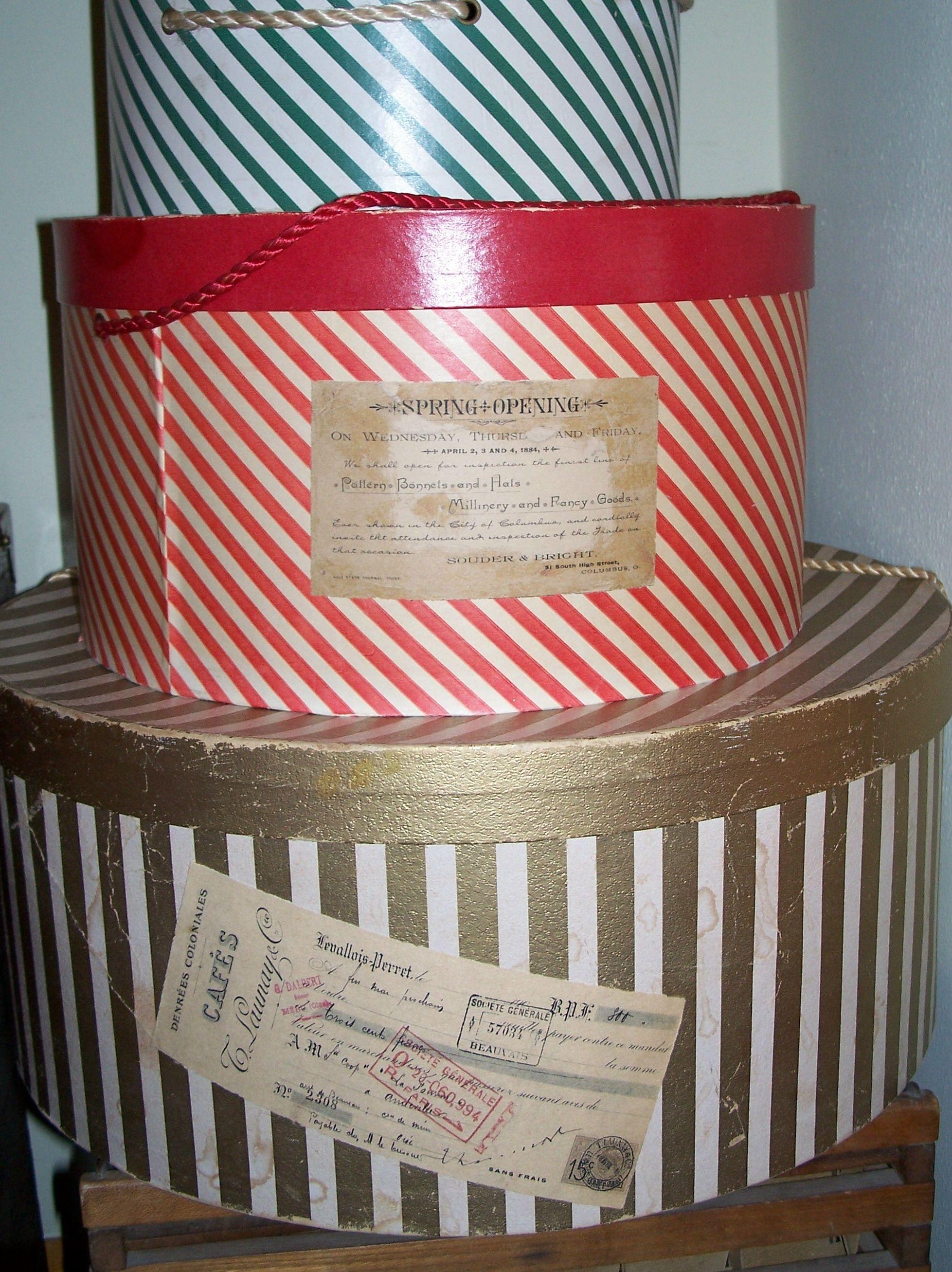 Labels Via The Graphic Fairy Applied To Vintage Hat Boxes Vintage Hat Boxes