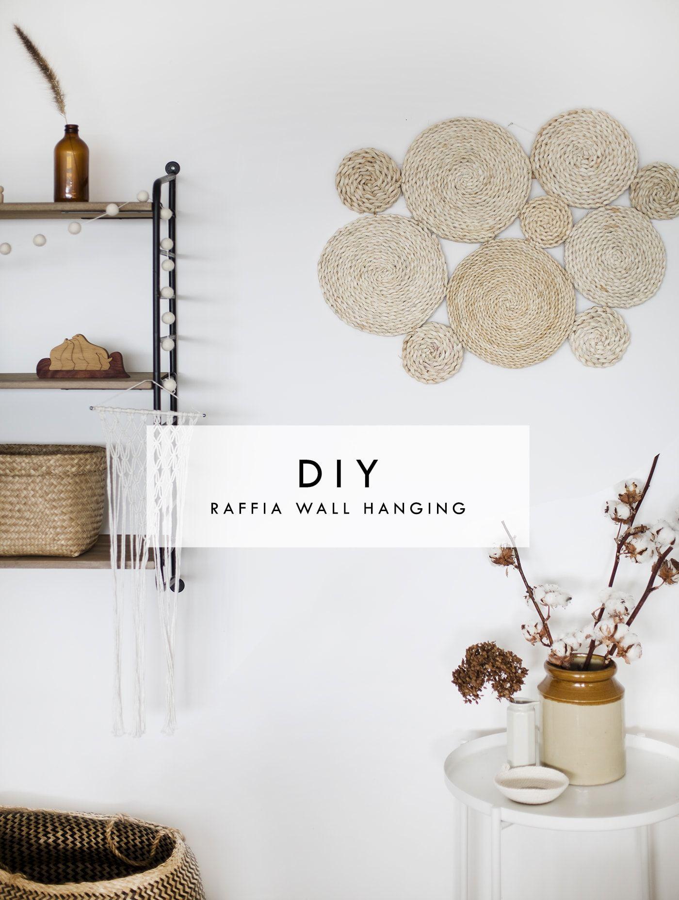 Diy Raffia Wall Hanging Diy Wall Decor Simple Wall Decor Diy Decor