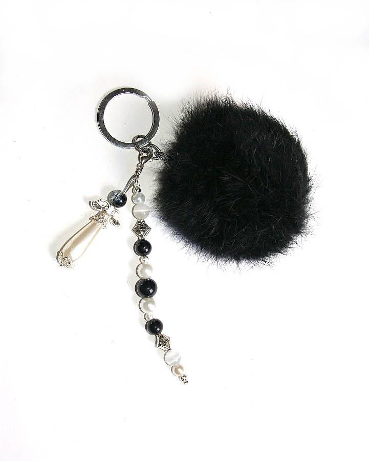 DFaux DIY Kaninchen Pelz Quaste Keychain Handtasche Auto Schlüsselanhänger Dekor