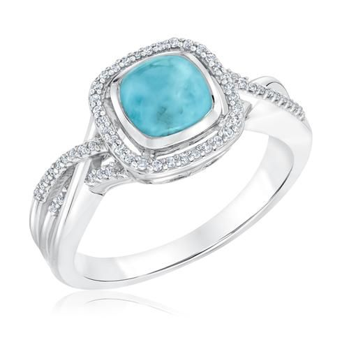 Cushion Larimar Diamond Ring 18ctw Item 19627017 REEDS Jewelers
