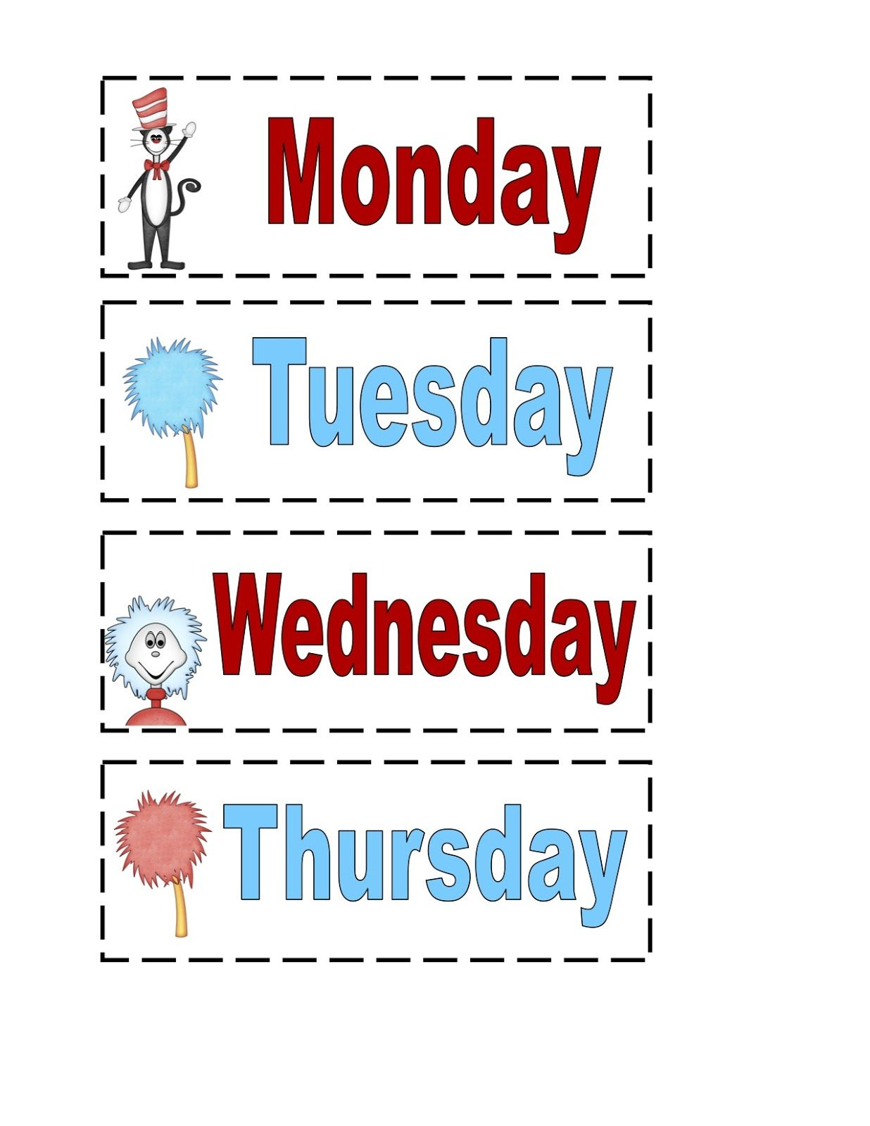 Dr Seuss Days Of The Week