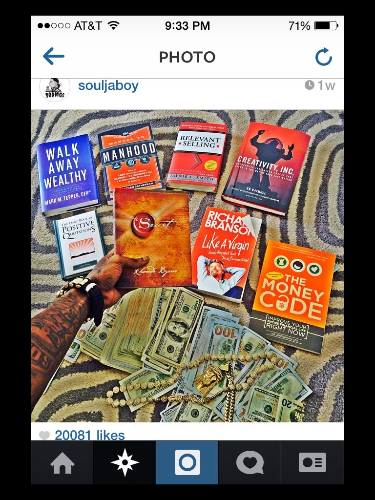 The rapper, producer, actor, and entertainer Soulja Boy posted on Instagram  his reading