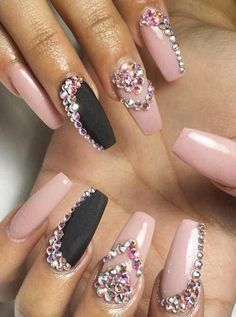 Nails Nail Design Coffin Crystal Rhinestones
