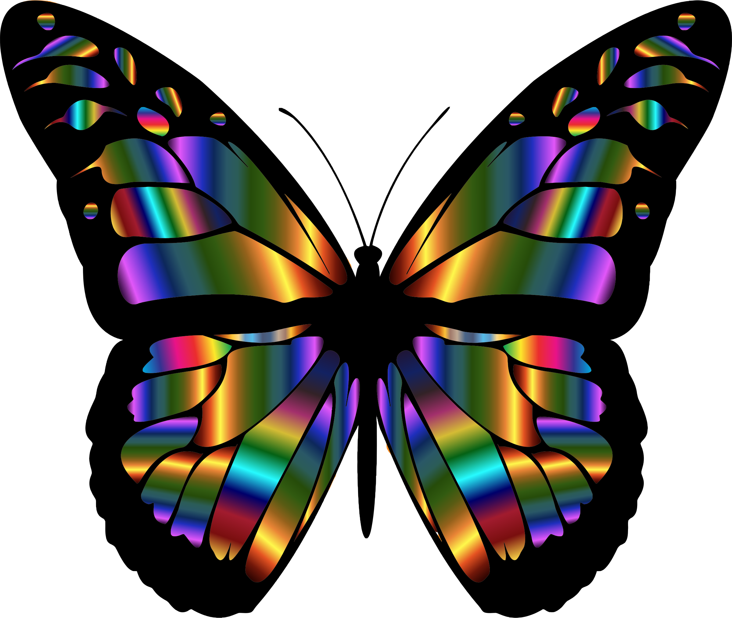 Iridescent Monarch Butterfly By Gdj A Colorful Iridescent Variation Of The Original On Openclipart Glass Butterfly Stained Glass Butterfly Butterfly Art