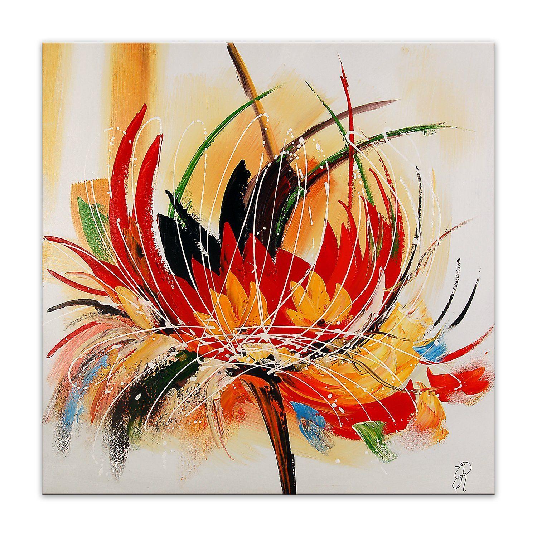 Arte Dal Mondo As315x1 Fleur Abstraite Tableau Moderne Peint A La