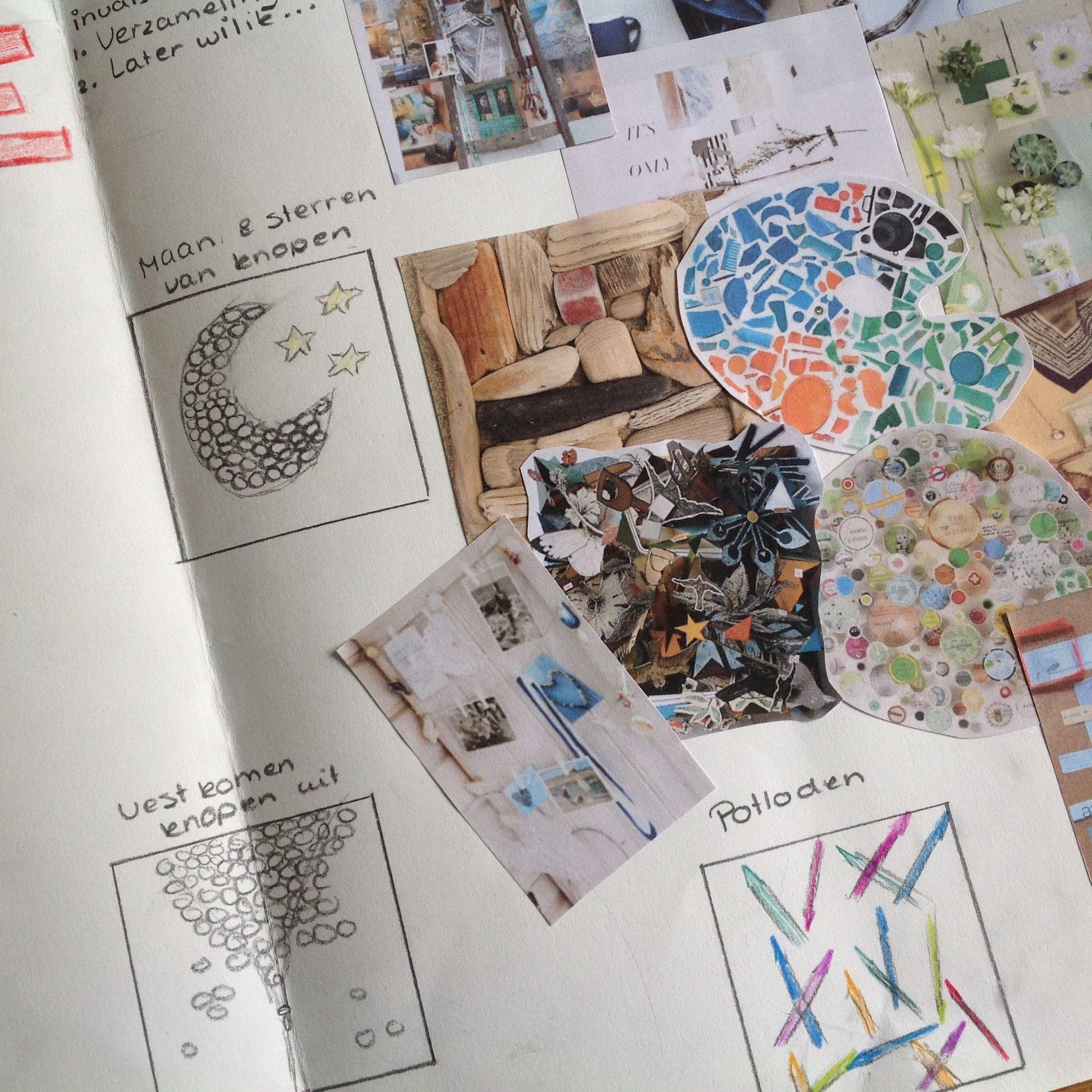 Ontwerpblad voor handvaardigheidwerkstuk 4GT. 3D collage - mixed media. Schooljaar '13-'14.