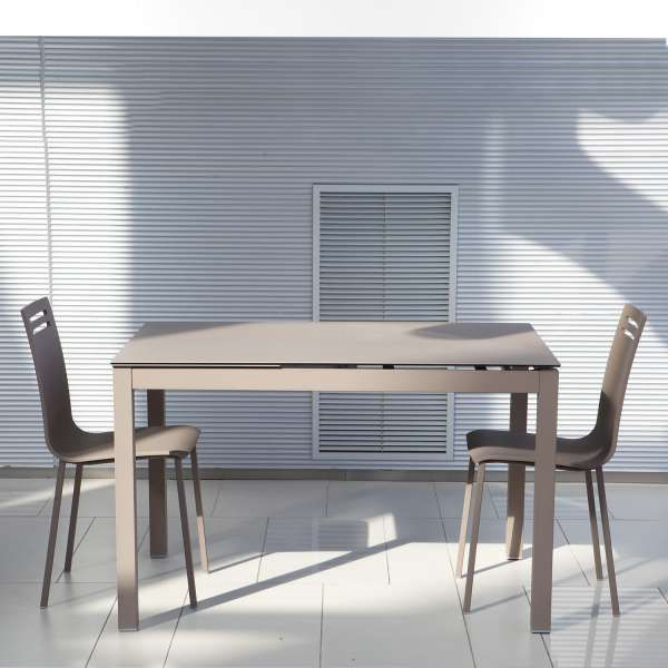 table de cuisine petit espace en cramique avec allonge cleste salons