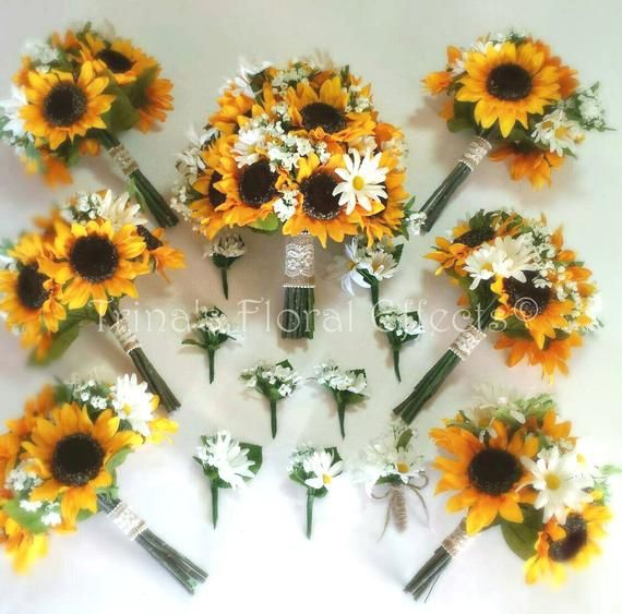 Sunflower Daisy And Babies Breath Wedding Bouquet Set