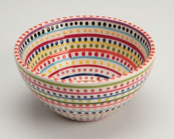 Stripes and Dots Bowl Small by owlcreekceramics on Etsy
